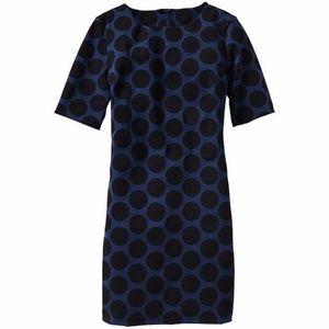 GAP Blue Polka-Dot Half Back Zip Dress